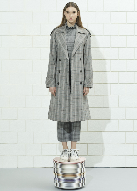 Check Patterned Long Trench Coat