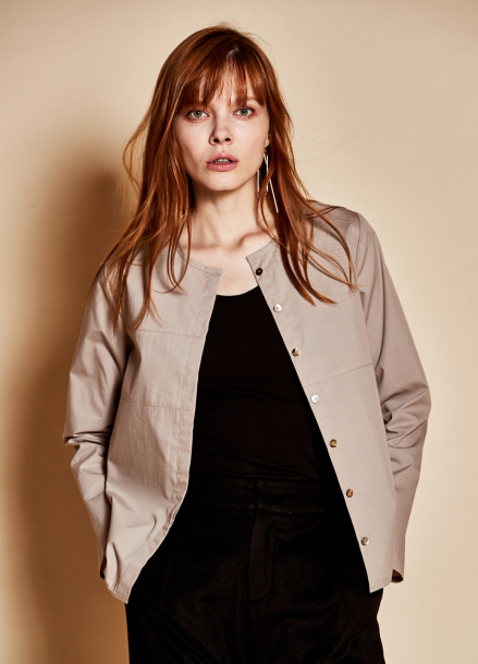 [TheKstory]No collar blouse_beige