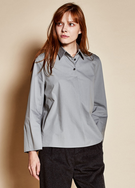 [TheKstory]Three button blouse_blue