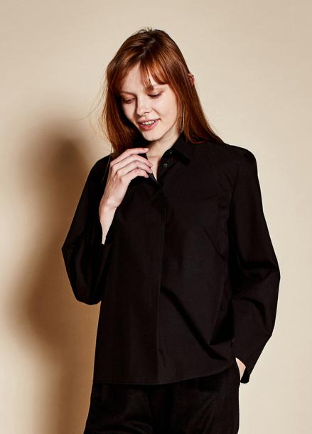[TheKstory]Three button blouse_black