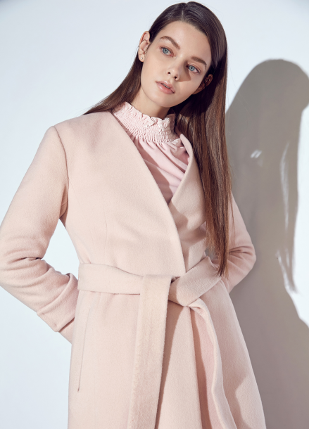 ◆ Collarless Belted Long Coat