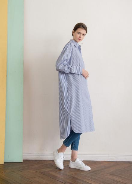 [NOCOCHIC]LONG SLIT SHIRT DRESS [ST]