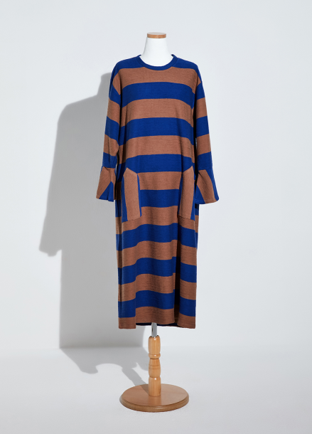 [NEW/AMELIE] STRIPE GARDENING DRESS_BLUE/CAMEL