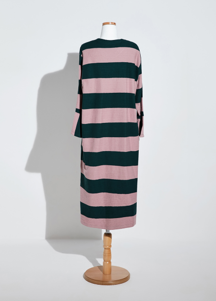 [NEW/AMELIE] STRIPE GARDENING DRESS_PINK/GREEN