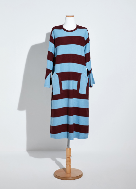 [NEW/AMELIE] STRIPE GARDENING DRESS_SKY BLUE/BROWN