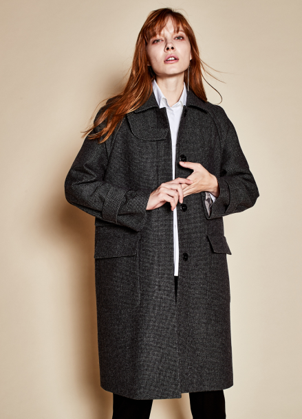 [TheKstory]Check patten coat_black