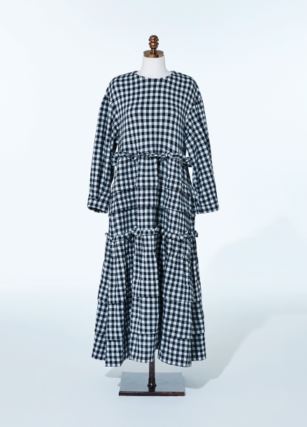 [NEW/AMELIE] BLACK GINGHAM KANGKANG DRESS