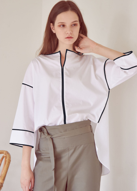 LOOSE PIPING BLOUSE[WHITE/NAVY]