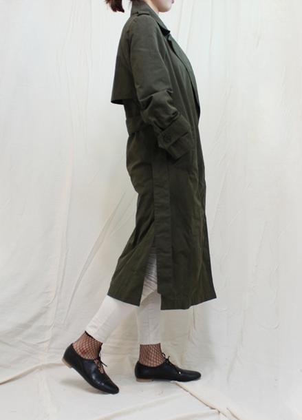 Waxed Cotton Trench Coat_Khaki