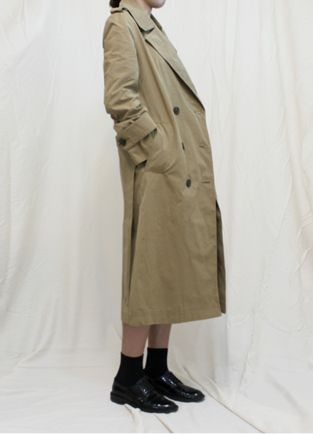 Waxed Cotton Trench Coat_Beige