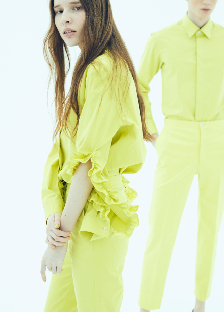 17FW FRILLED SLEEVE SHIRT_LIME