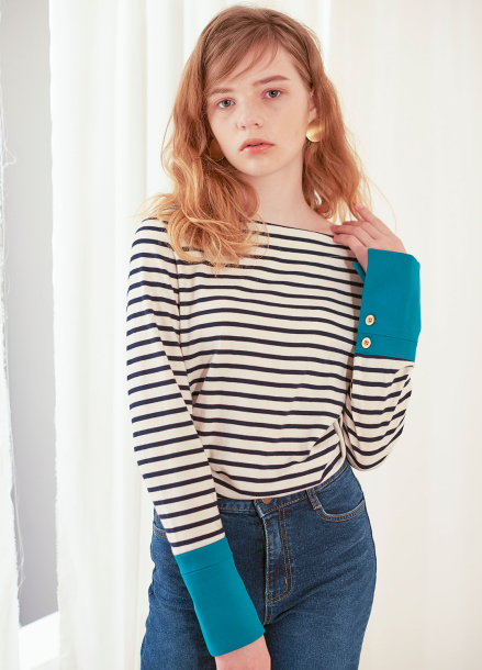 [살롱드욘]Stripe Cuffs T_Navy