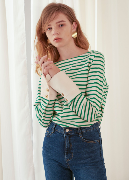 [살롱드욘]Stripe Cuffs T_Green