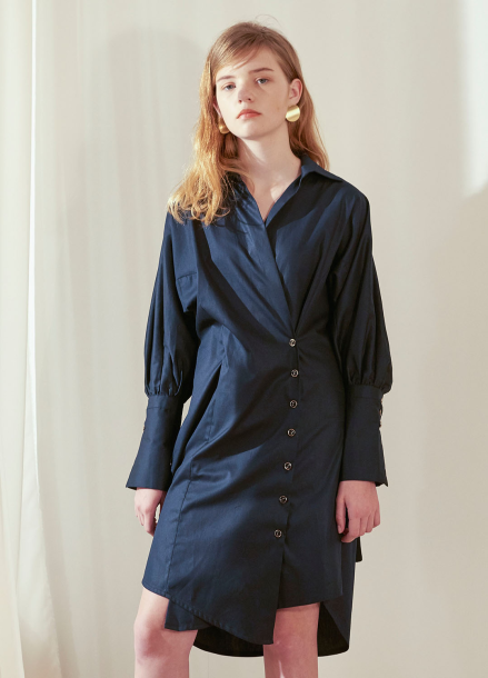 [살롱드욘]Wrap Shirt Dress_Navy