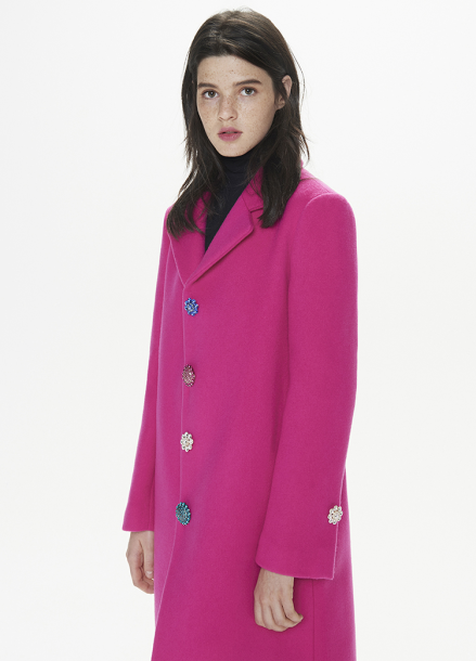 [THESUIN /FW 기간한정 20%세일]Crystal Jewel Button Single Coat. Fuchsia