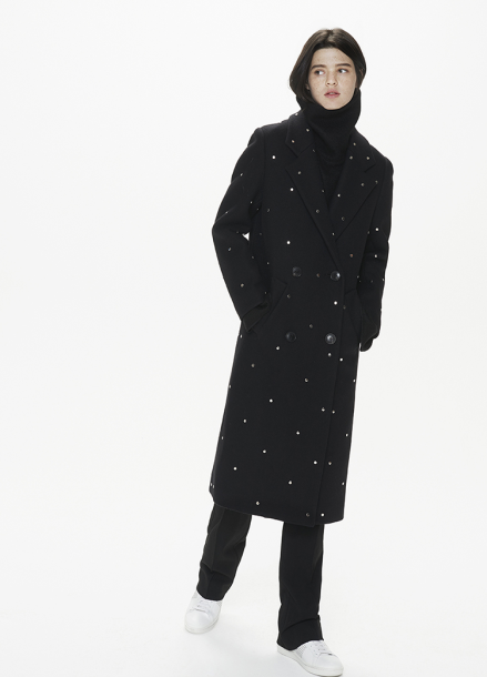 [THESUIN /FW 기간한정 20%세일]Stud Double Long Coat. Black