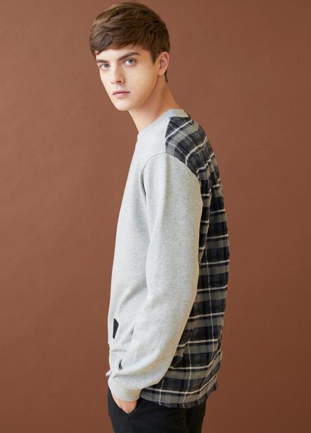 [MILLOGLEM/17FW신상/10%+5%COUPON] half check sweatshirts - gray