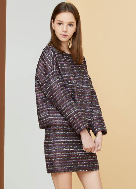 [MILLOGLEM/17FW신상/10%+5%COUPON] comma tweed pullover - purple