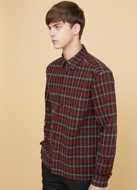 [MILLOGLEM/17FW신상/10%+5%COUPON] fringe heavy check shirts - red
