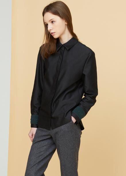 [MILLOGLEM/17FW신상/10%+5%COUPON] knit cuffs shirts - black