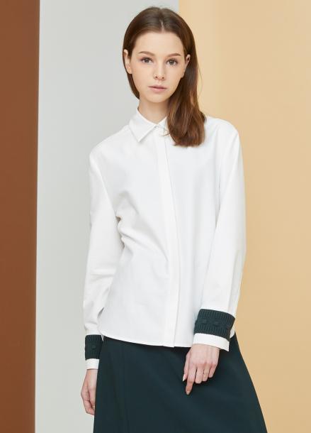 [MILLOGLEM/17FW신상/10%+5%COUPON] knit cuffs shirts - white