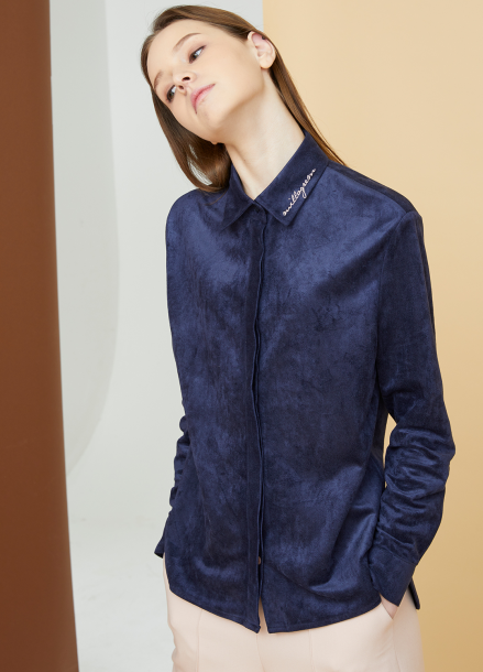 [MILLOGLEM/17FW신상/10%+5%COUPON] embroidered logo suede shirts - navy
