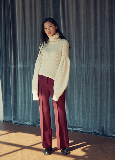 [LAFETE]Wool Pants Burgundy