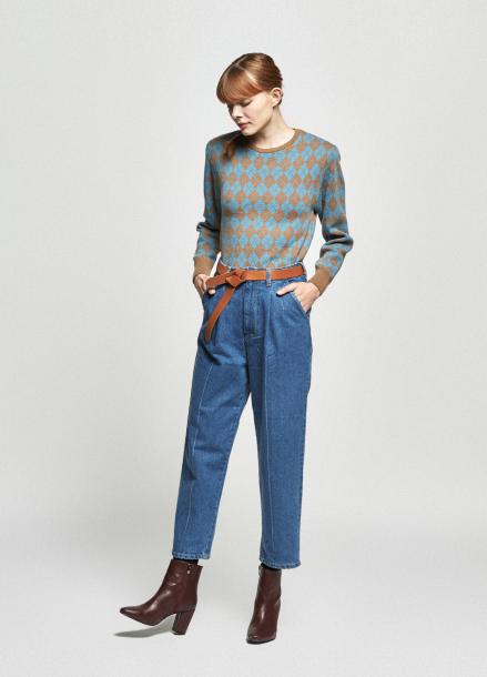 [URAGO/OCTOVER신상/5%+5%COUPON]argyle point shoulder knit