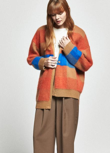 [URAGO/OCTOVER신상/5%+5%COUPON]angora check knit cardigan