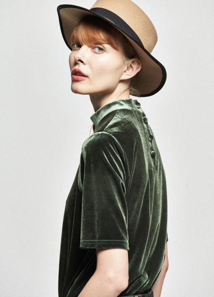 [URAGO/OCTOVER신상/5%+5%COUPON]velvet half blouse