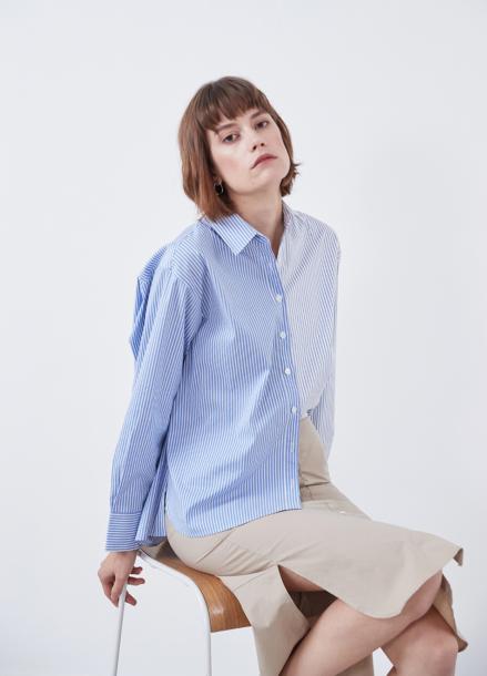 [YouNess] Slit Combi Shirt_3