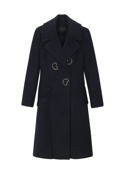 Wool Blended Gold Point Button Coat
