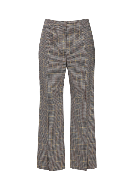 Check Patterned Front Slit Pants