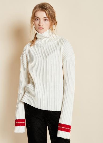 [CLUE DE CLARE/17FW시즌오프/10%SALE] sleeve line knit white