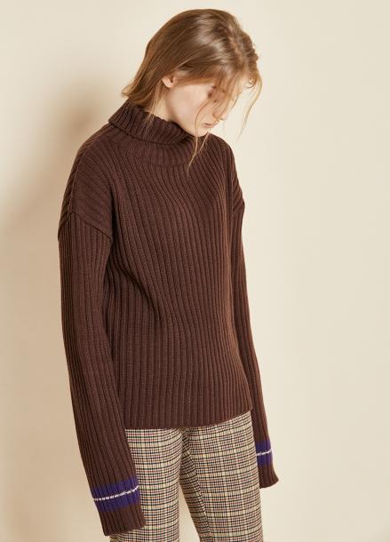 [CLUE DE CLARE/17FW시즌오프/10%SALE] sleeve line knit brown