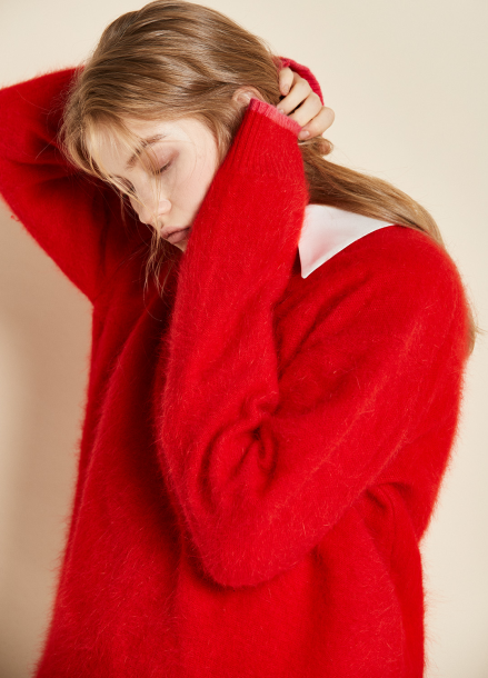 [CLUE DE CLARE/17WINTER/5%+5%COUPON]oversize angora knit red