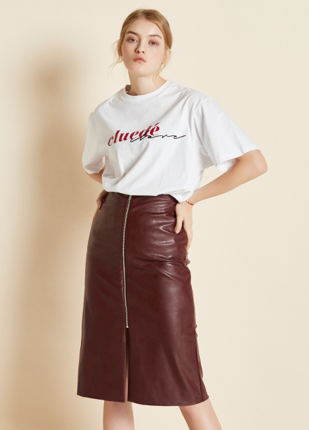 [CLUE DE CLARE/17FW시즌오프/10%SALE] zipper leather skirt Burgundy