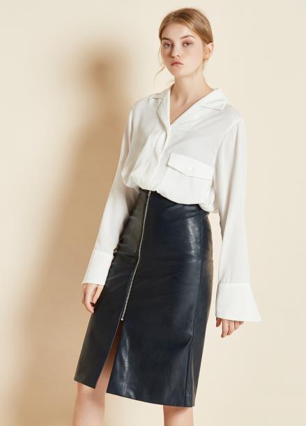 [CLUE DE CLARE/17FW시즌오프/10%SALE] zipper leather skirt Navy