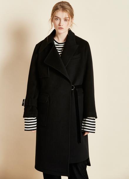 [CLUE DE CLARE/17WINTER/5%+5%COUPON/11월6일예약배송]unbalanced coat Black