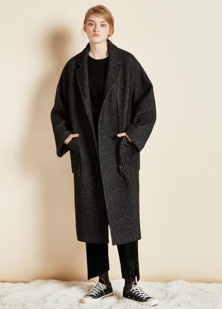 [CLUE DE CLARE/17FW시즌오프/10%SALE] oversize zipper coat Black
