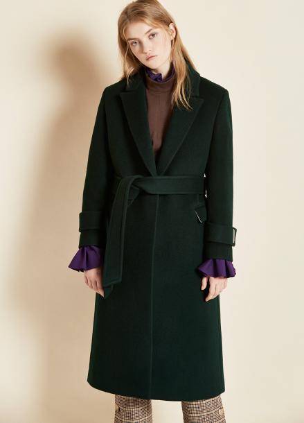 [CLUE DE CLARE/17FW시즌오프/10%SALE] belted single coat dark green