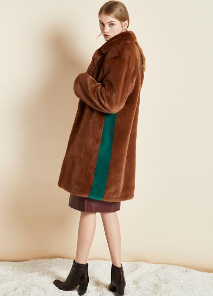 [CLUE DE CLARE/17FW시즌오프/10%SALE] color block fur coat Brown