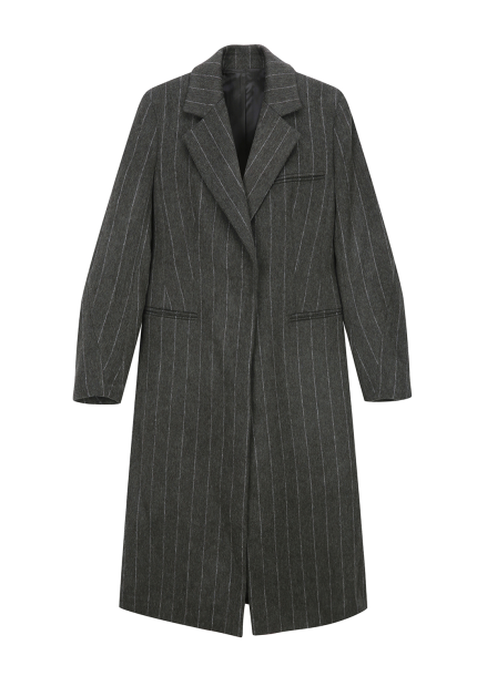 Wool Blended Stripe Coat