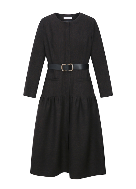 Cashmere Blended Belt Dress