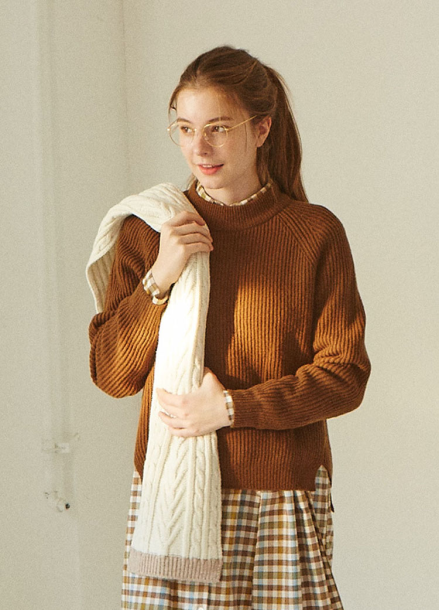 [IHATEMONDAY] Lambswool Knit Brown
