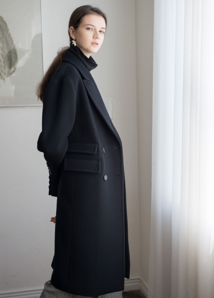 [NOCOCHIC/시즌오프!/30%] CLASSIC DOUBLE TAILORED COAT [BK]