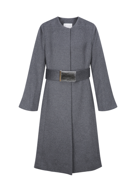 Fur Belt Cashmere Coat