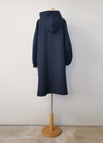 [NEW/AMELIE] QUILTING HOOD DRESS_NAVY