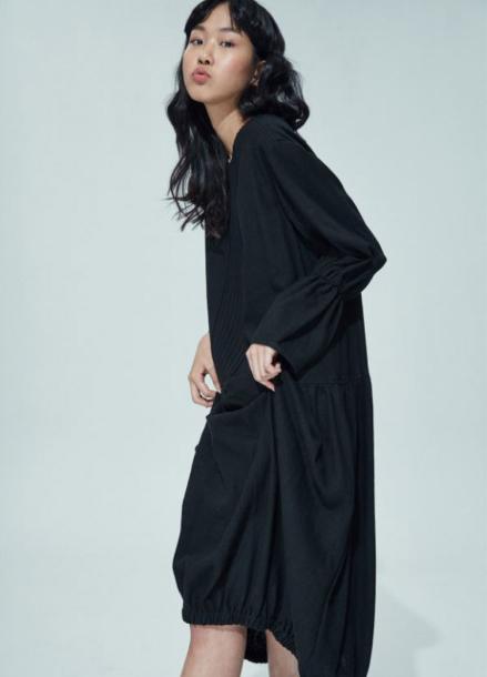 [AMELIE/30%SALE] PUMPKIN LINEN DRESS_BLACK