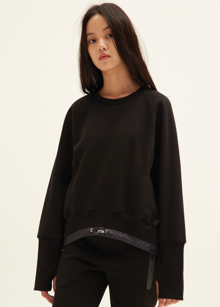 WAIST STRING NAPPING SWEATSHIRTS(BK)